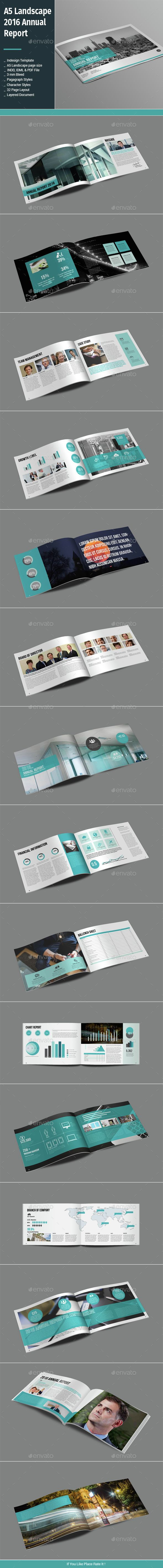 A5 Landscape 2016 Annual Report Template InDesign