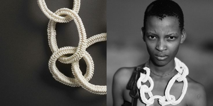 SHOP: Jewellery made from Ostrich Eggshells. By ZEZE Collective and Sabine Roemer in their collaboration with the bushmen of Kalahari Desert. (Left) Photo by Michel Monteaux for MOOWON. (Right) Photo by Boo George for ZEZE Collective. http://www.moowon.com/store