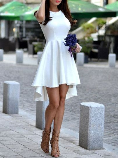 Perfect short sexy white dress. Sleeveless asymmetric hem flare dress.  Belt :NO Fabric :Fabric has some stretch Season :Summer Type :Skater Pattern Type :Plain