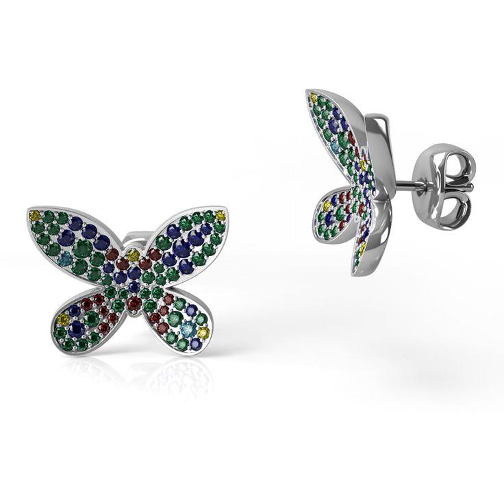 Pave set stud butterfly earrings.