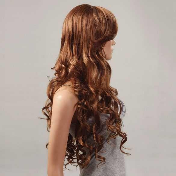 Luxe en sexy pruik lang haar warm bruin