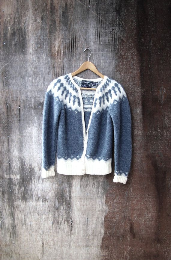 GREY ICELANDIC CARDIGAN Fair Isle Nordic style by GloriousMorn, $42.00