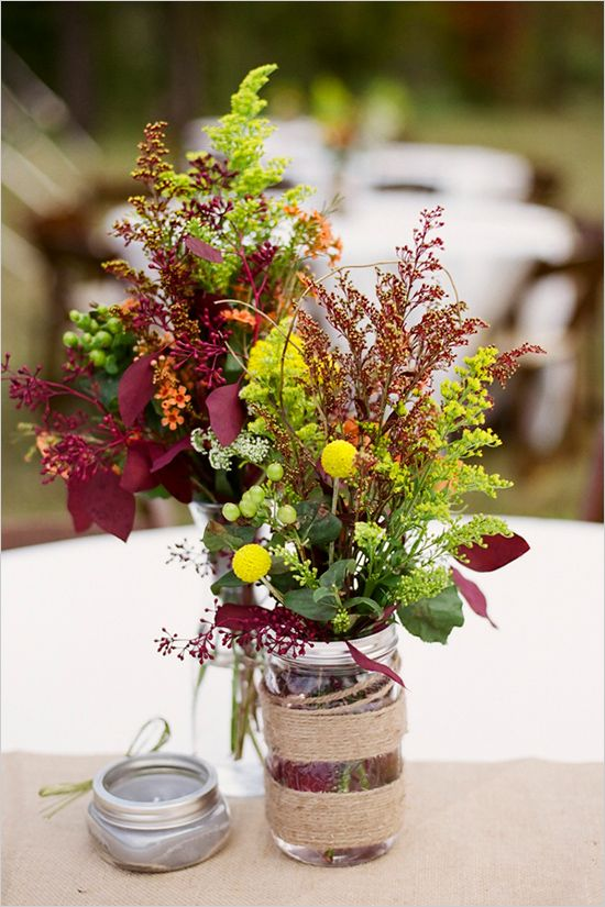 Fall wedding florals: simple, natural, and with lovely burgundy touches...
