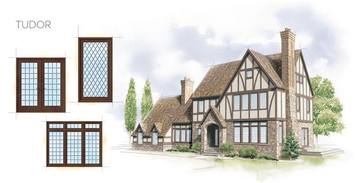 The tudor home style is based on English folk/late medieval palaces,  features asymmetrical-style architecture, window frames tend to be dark  wood t