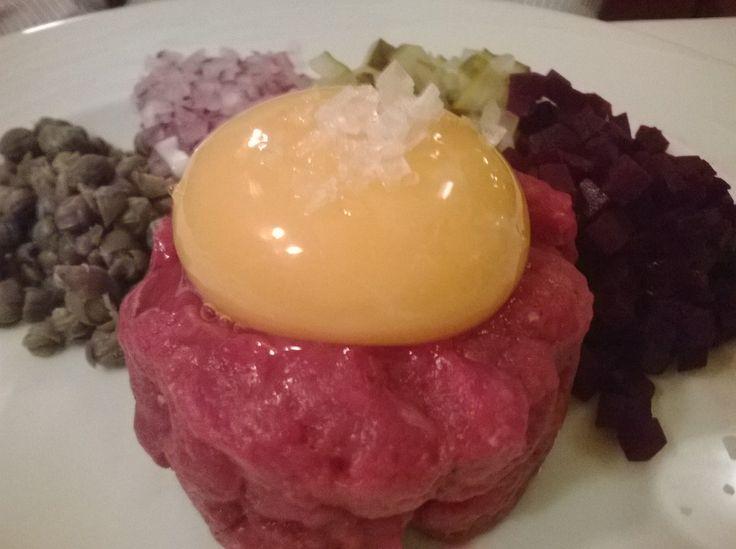 Beef tartar.  Restaurant Elite Helsinki http://www.elite.fi/en