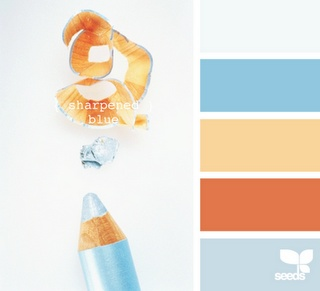 {sharpened blue}  Color palette for cube decorations - using the blue and orange from office carpet
