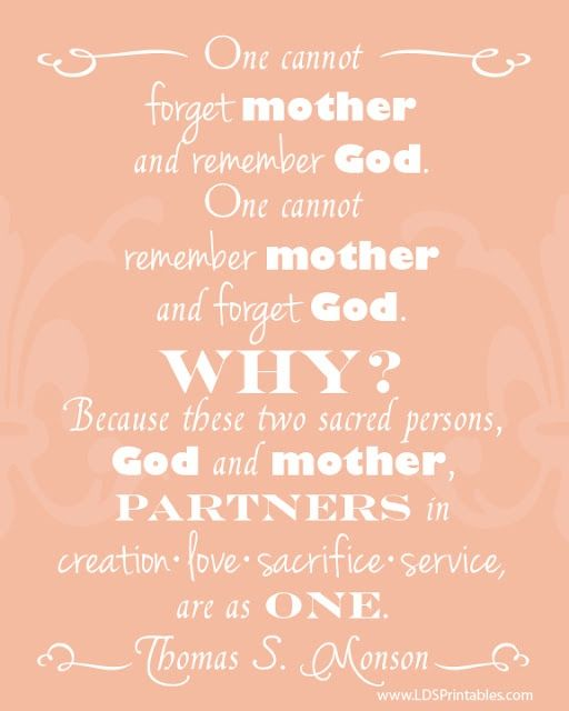 Mother and God are partners in creation, love, sacrifice, and service. Free printable. Motherhood. Another great gift idea for Mothers Day. #LDS #Printable #mothersday