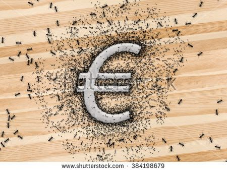 Euro symbol EU currency money icon that written by sugar grains on wood background. And the ants swarming at the Euro sign. Metaphor about monetary or business concept.