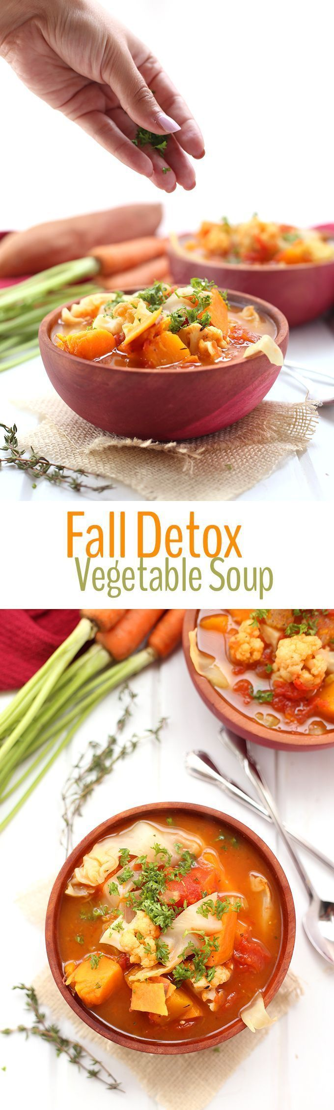 We all need a reboot every now and then so why not kickstart your clean eating this season with this Fall Detox Vegetable Soup. Made with 9 different vegetables, this soup will help you glow inside and out!