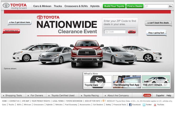 Toyota website in 2011