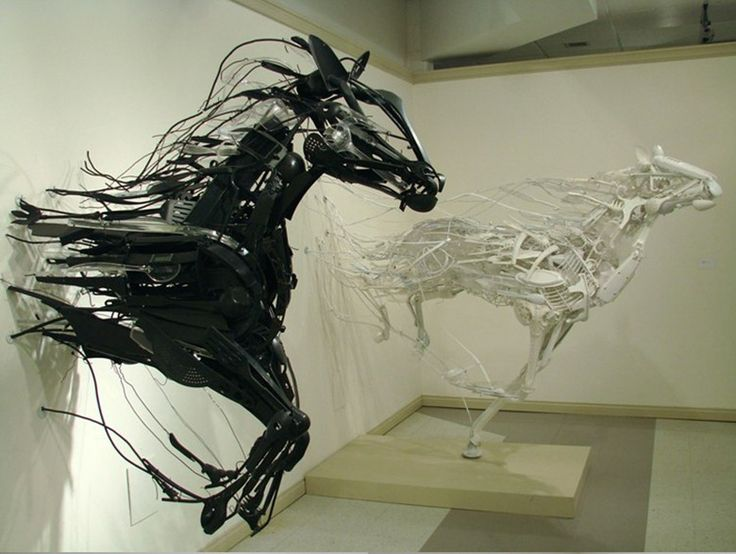 These sculptures are made with recycled and discarded plastic items.