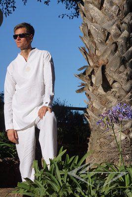 Luxus Leinen Tunika kurz Baum des Lebens oder  Blume des Lebens Leinen Hemd in weiss - V O N N E S L H O