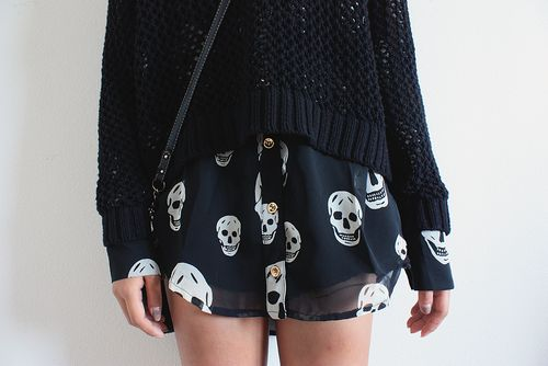 Knit sweater + Long Sheer + shorts (or tights and a skirt.)