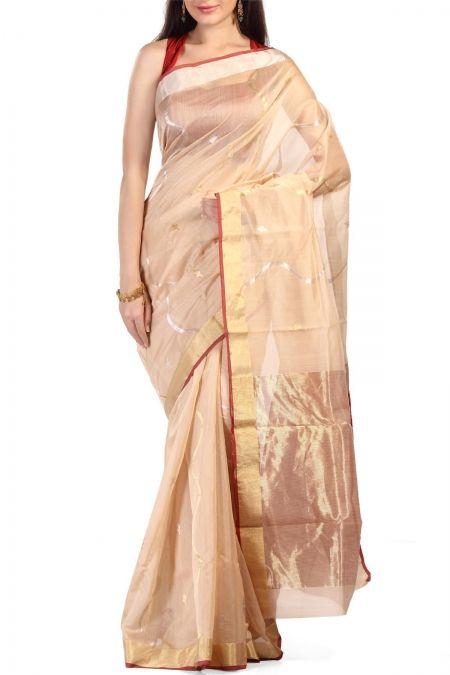 Ecru with Silver & Golden Zari Chanderi Silk Cotton Saree  http://www.ethnickart.com