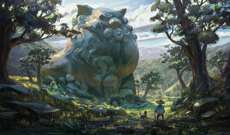 A giant statue, Quentin Regnes on ArtStation at https://www.artstation.com/artwork/AkxYV