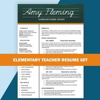 teacher resume template for ms word elementary cv template digital download - Free Teacher Resume Templates Download