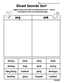 glued sounds ong and onk sorting activity spelling practice worksheet 2nd grade fundations. Black Bedroom Furniture Sets. Home Design Ideas