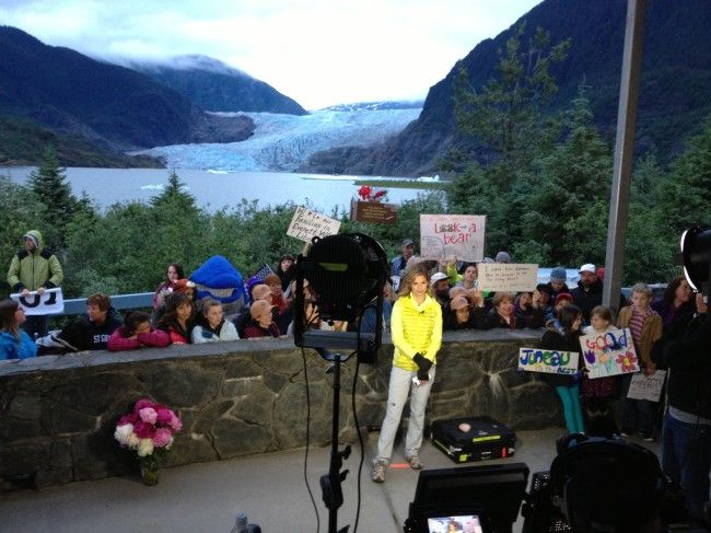 Natalie Morales hosted portions of NBC's TODAY Show from the Mendenhall Glacier Visitor Center pavilion. (Photo by Lisa Phu/KTOO)