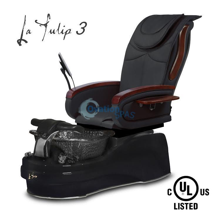 Free Shipping - La Tulip® 3 pedicure chair comes with newest leather seat, large glass bowl sink and adjustable footrest. The pedicure massage chair comes with 2 wooden manicure trays and remote control... Nail Design, Nail Art, Nail Salon, Irvine, Newport Beach