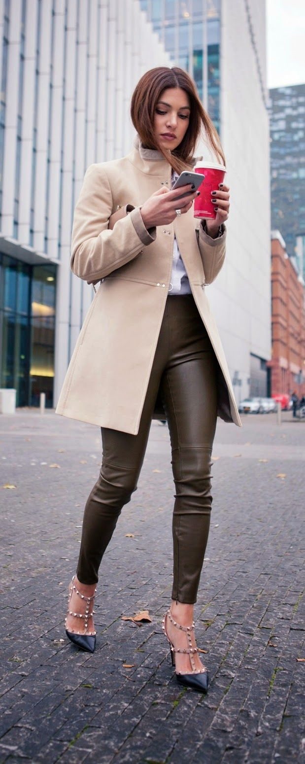 Faux The Leather Pant + Fall Chic Coat + Studded Heels + White Shirt  + Clutch Purse