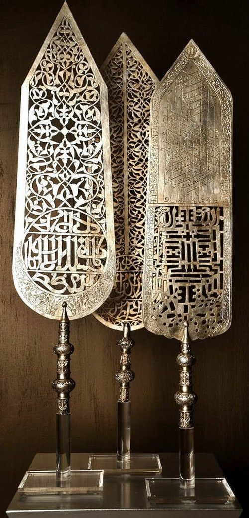 Several Ottoman 'Alem' (standards). Copper, silver leaf. Ca. 18th century.