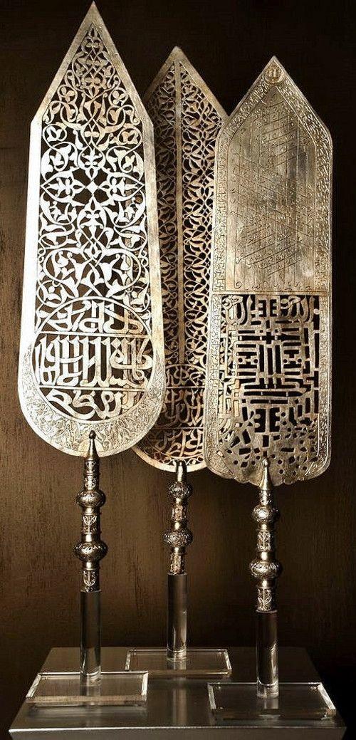 Several Ottoman 'Alem' (standards). Copper, silver leaf. Ca. 18th century.