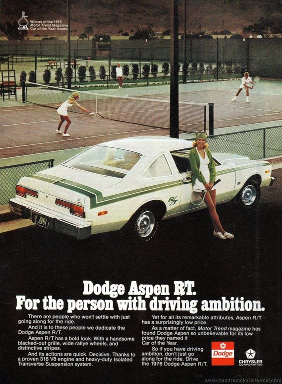 """1976 Dodge Aspen - """"For the person with driving ambition"""""""