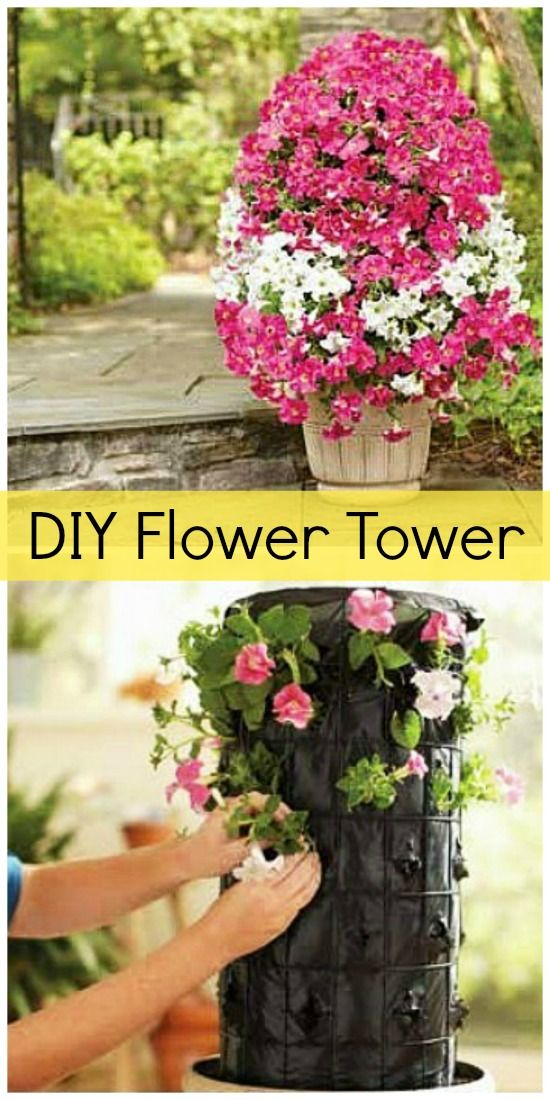 Make Your Own Flower Tower. You could also make a vegetable tower. Grow strawberries/lettuce/herbs or a mixture of things. As long as they all have the same soil and watering requirements they should all live happily together. This vertical garden is great space saver. #verticalgardens