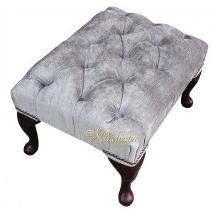 Winchester Chesterfield Fabric Queen Anne Footstool