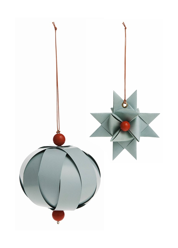 Ferm Living Paper Ornaments in Mint Colour with Red Wooden Beads and Leather String.