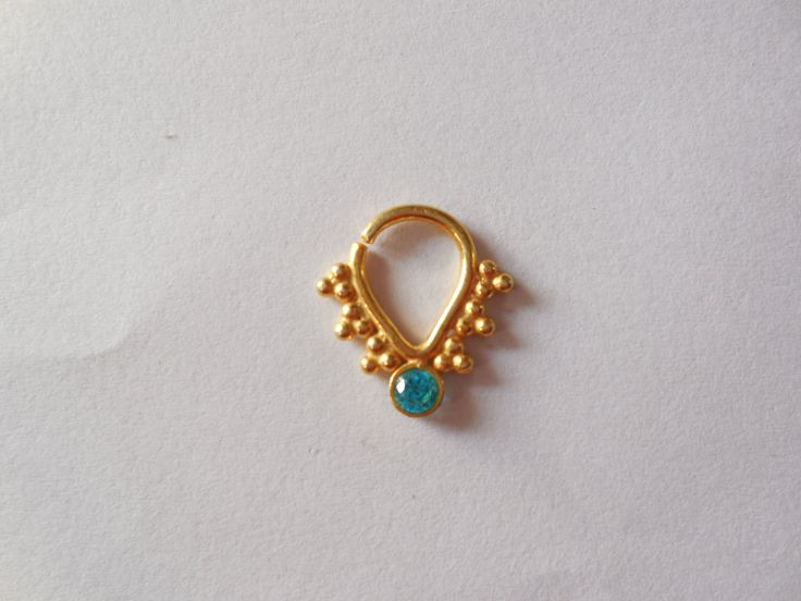 Unique gold septum with green gemstone for pierced nose decorated indian nose ring gold filled - Decorative septum jewelry ...