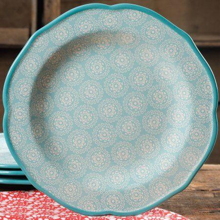 """The Pioneer Woman Hyacinth 10.5"""" Teal Dinner Plate"""