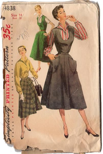 Vintage 1950s Simplicity Sewing Pattern 4838 Women's Jumper Dress and Blouse Bust 32