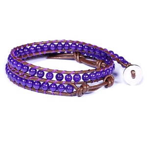 2 wraps amethyst beads leather bracelet, fashion wrap leather bracelets.