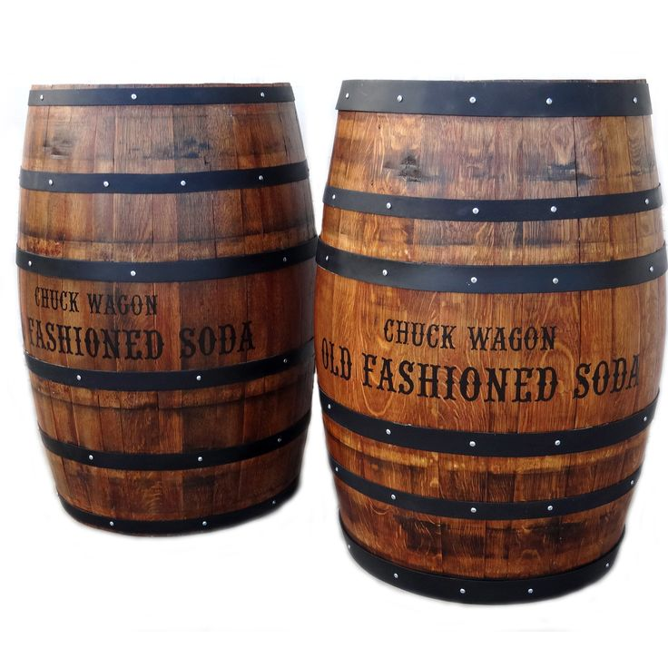 Refurbished old wine barrels with hand painted company