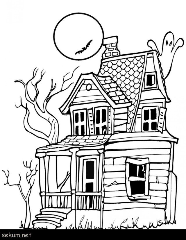 25 Awesome Image Of Haunted House Coloring Pages Halloween