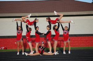 cheer stunts   ... school varsity cheerleading aaa cheer stunt gymnastics pace gymnastics