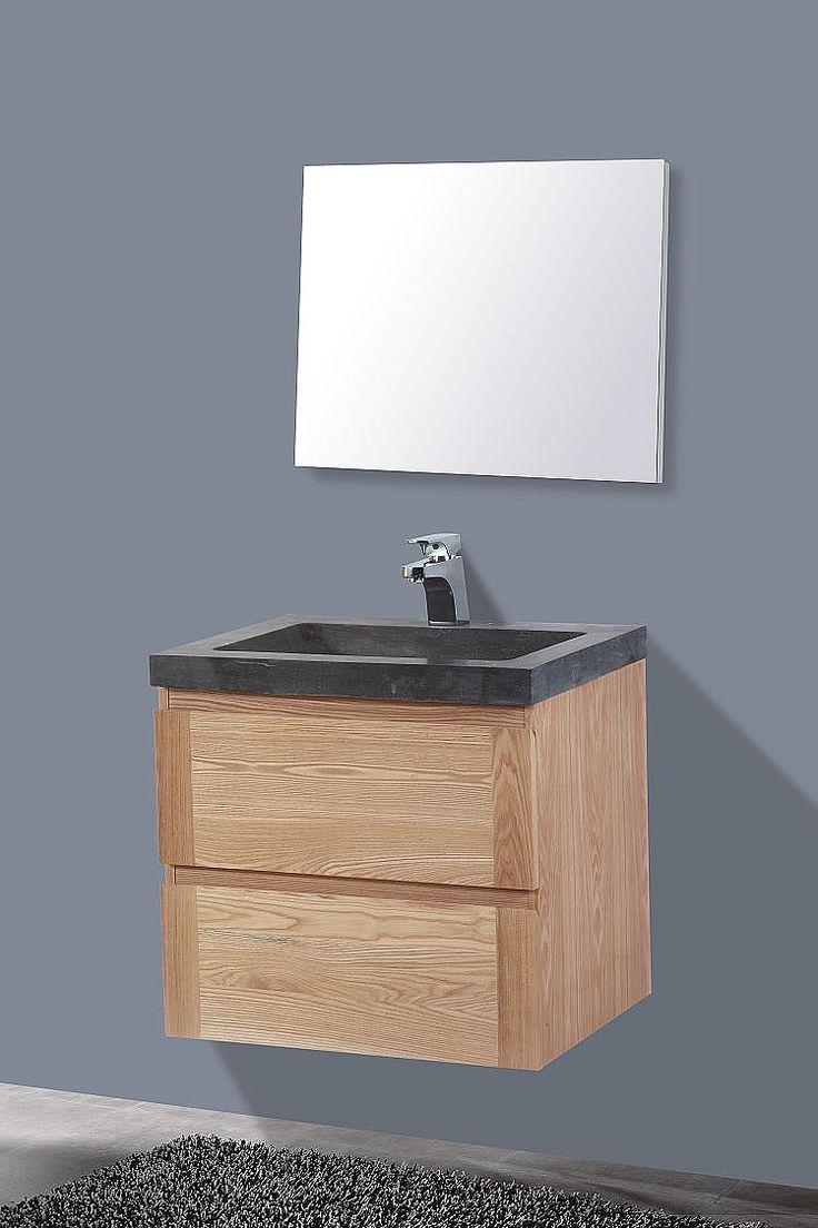 Wood Stone Badkamermeubel hout eiken/natuursteen 60cm > Badkamermeubel ...