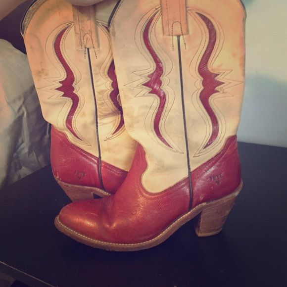 Vintage Frye Cowboy Boots These are the best cowboy boots you'll ever see but seeing as my college football game days are behind me it's time to clear pass them on. These are not for just anyone with feet. These are for a girl who likes to have a blast while receiving compliments on her footwear :)! Frye Shoes Heeled Boots