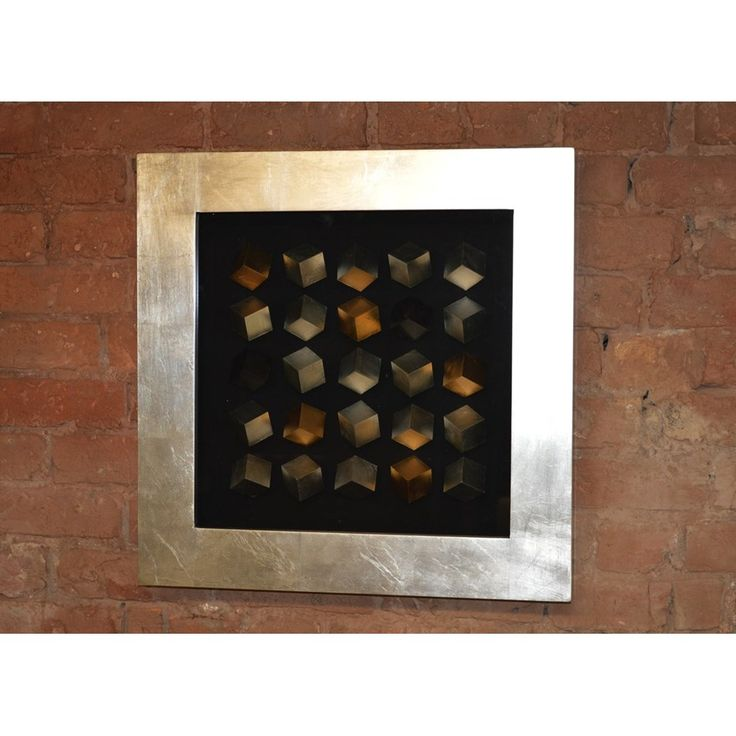 silver and cream Framed Art | Square Silver and Gold Leafed Cube Framed Box Wall Art Small