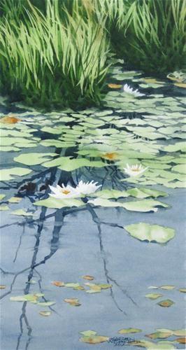 """""""Lily Pond Demonstration"""" - Original Fine Art for Sale - © Karen Werner"""