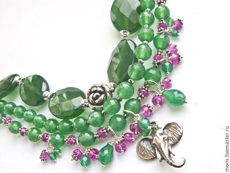 """Купить Браслет из серебра и шпинели """"Оттила""""  зеленый оникс ... - многорядный…"""