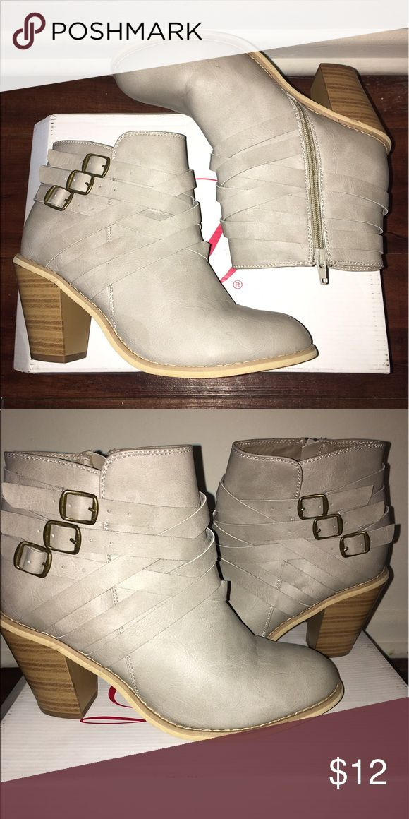 Brand new Cream High heel Strappy booties Never worn size 9. No scuffs or scratches and heel is approx 2.5. Very comfy Charlotte Russe Shoes Ankle Boots & Booties