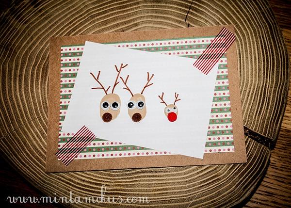 Karácsonyi üdvözlőlapok ujjlenyomat rénszarvasokkal :)