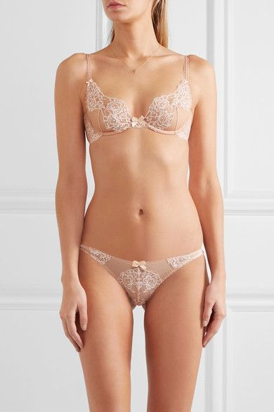 L'Agent by Agent Provocateur - Angelica Lace And Stretch-tulle Thong - Blush - x large