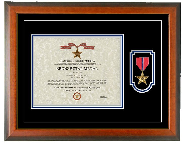 Military Memories and More - Bronze Star Certificate Frame - Horizontal,  $110.00 (http: