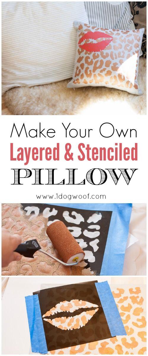 Stenciled pillow   www.1dogwoof.com