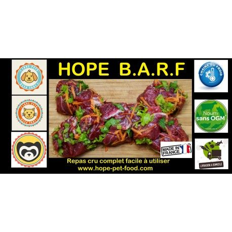 Hope Barf pintade et boeuf pour chien chiot aliments crus repas complet Alimentation crue naturelle complète à consommation humaine made in France viande fraiche entre 80% et 90% http://hope-pet-food.com/-dog-hope-barf-biologically-appropriate-raw-food-or-bones-and-raw-food/167-hope-barf-pintade-et-boeuf-pour-chien-chiot-aliments-crus-repas-complet.html