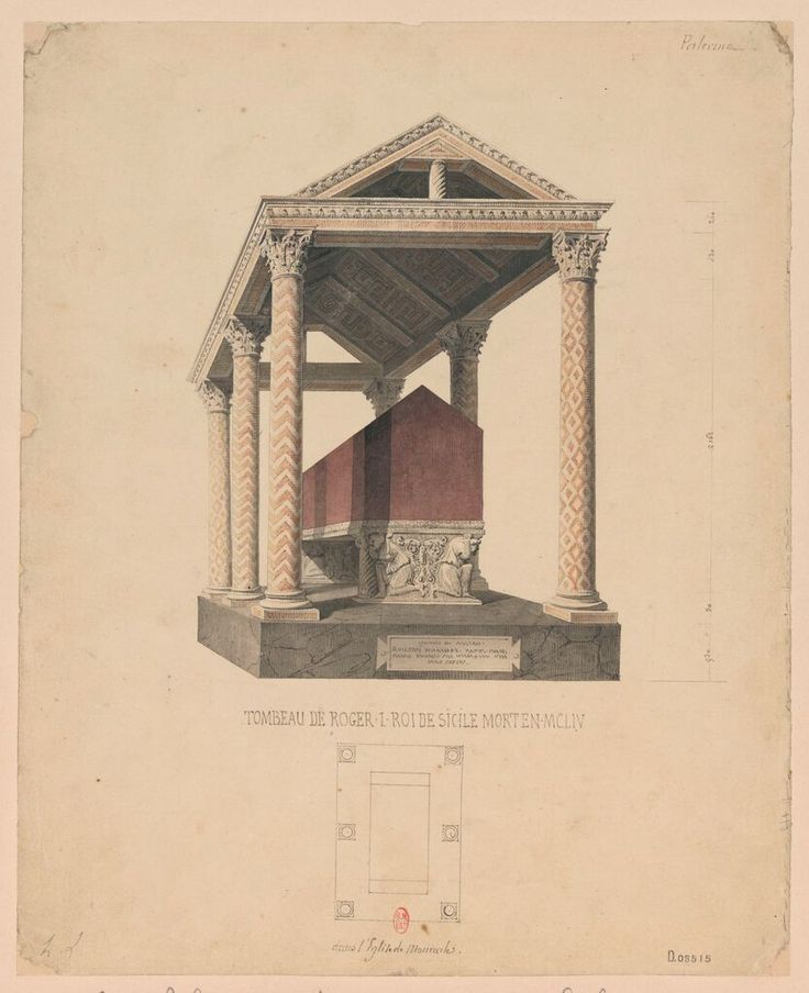 Tomb of Roger I (II) (Normans), King of Sicily, died MCLIV, Duomo Santa Maria Nuova, Monreale. Graphite, pencil, coloured wash on paper, by Henri Labrouste, 1858, Bibliothèque nationale de France