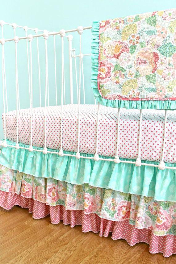Bumperless Baby Girl Crib Bedding Salmon & Mint by LottieDaBaby